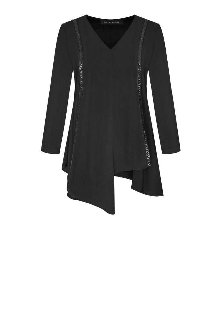 wizytowa czarna bluzka dzianinowa z cekinami polskiej marki Vito Vergelis