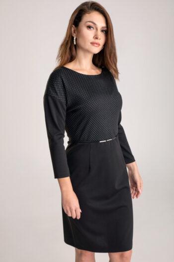 wygodna, czarna sukienka Vito Vergelis ze srebrnymi kropeczkami