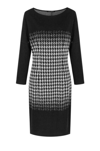 czarna sukienka dzianinowa w pepitkę marki Vito Vergelis