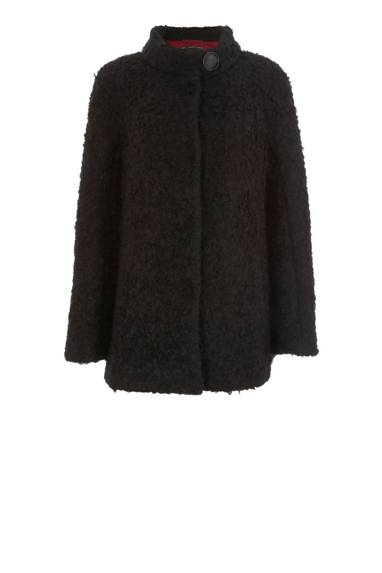 Czarna kurtka z wełny jagnięcej z moherem