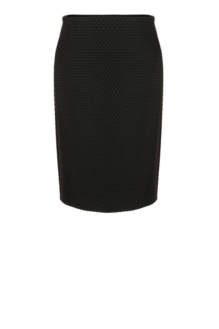 Czarna dzianinowa spódnica z lampasami