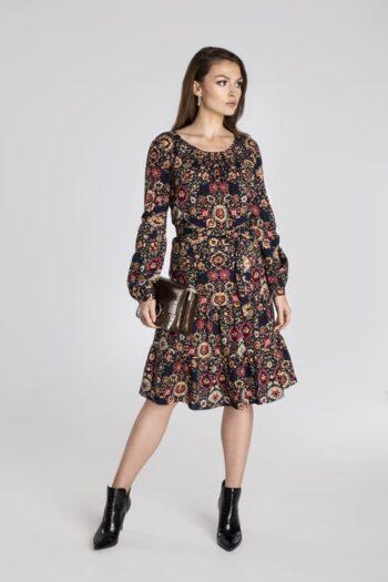 Komfortowa sukienka z wiskozy w nadruk. Sukienka z falbanami marki Vito Vergelis