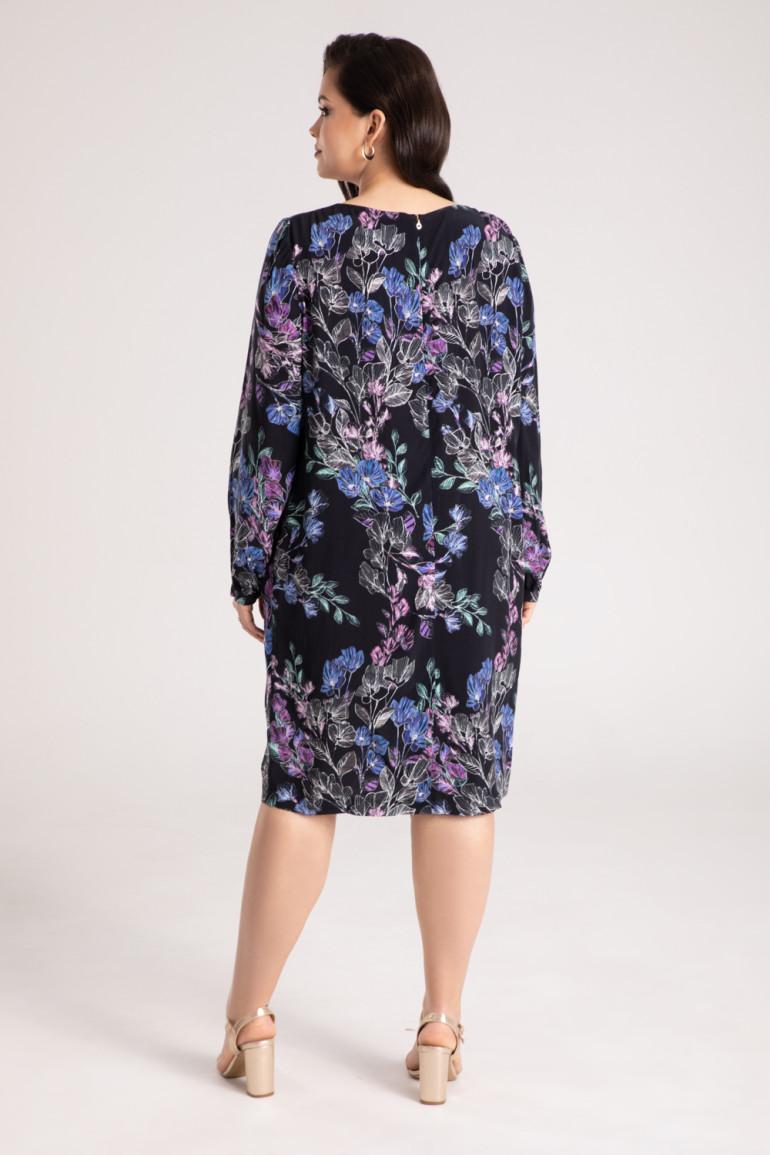 Sukienka w kwiaty z cupro i wiskozy