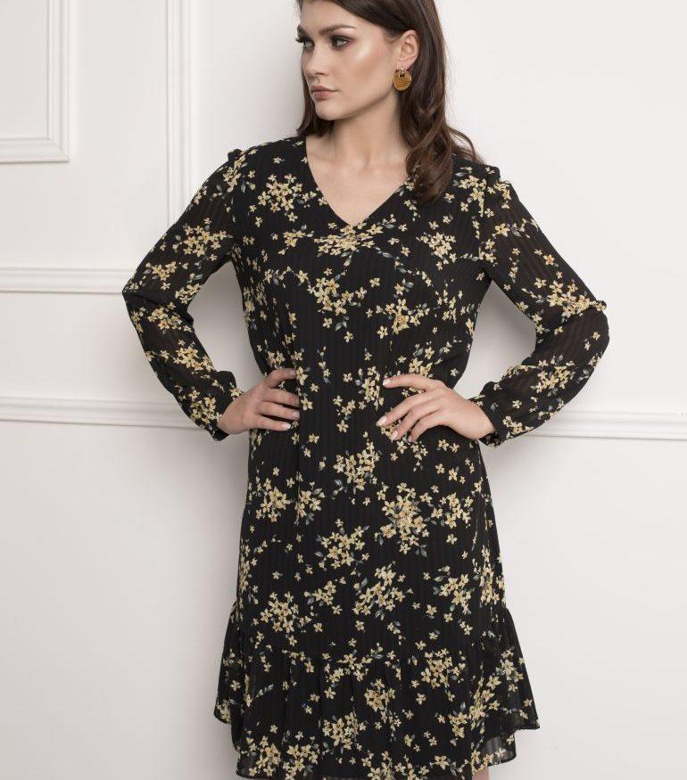 Czarna sukienka w żółte kwiaty