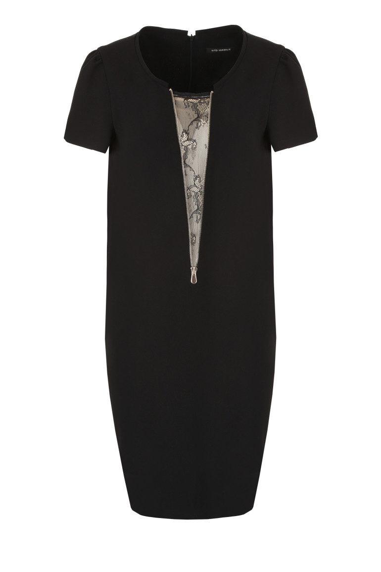 Czarna sukienka z ozdobną wstawką