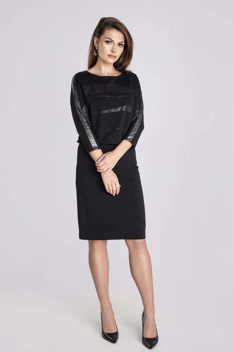 Czarna sukienka z błyskiem