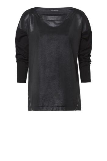 czarna tunika oversize z błyskiem i suwakami marki Vito Vergelis