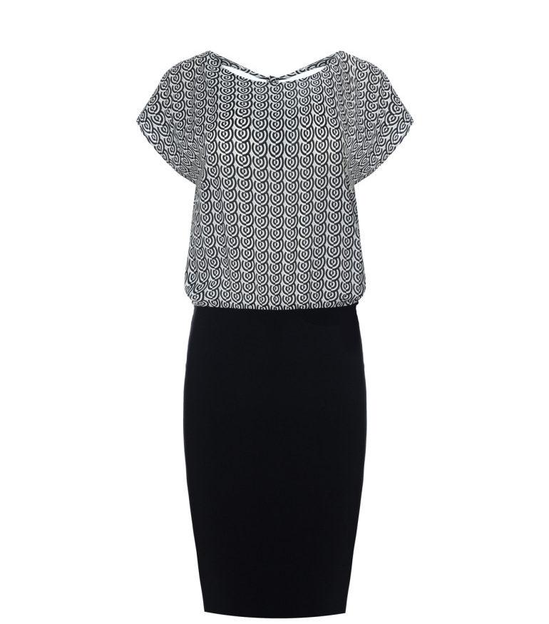 Czarno-biała sukienka z wiązaniem