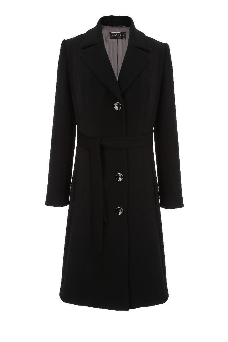 Czarny płaszcz na guziki