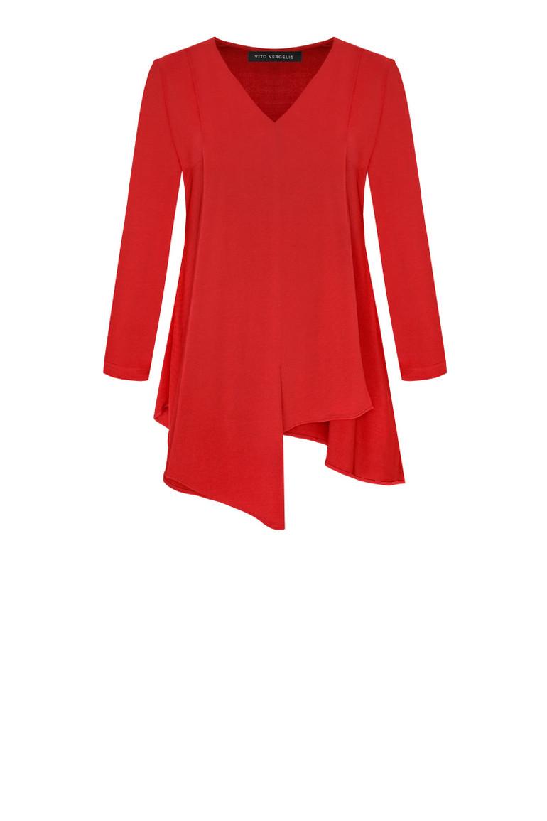 Czerwona bluzka z kontrafałdą