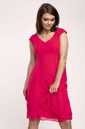 Czerwona rozkloszowana sukienka z szyfonu marki Vito Vergelis