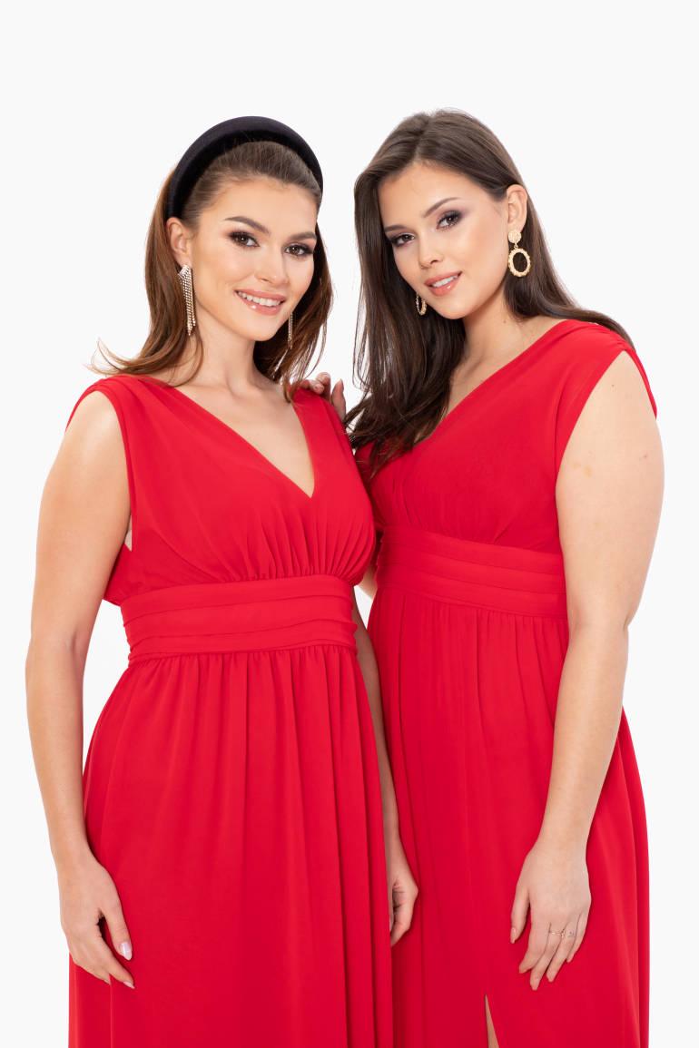 Długa, wizytowa sukienka z szyfony w pięknym czerwonym kolorze polskiej marki Vito Vergelis
