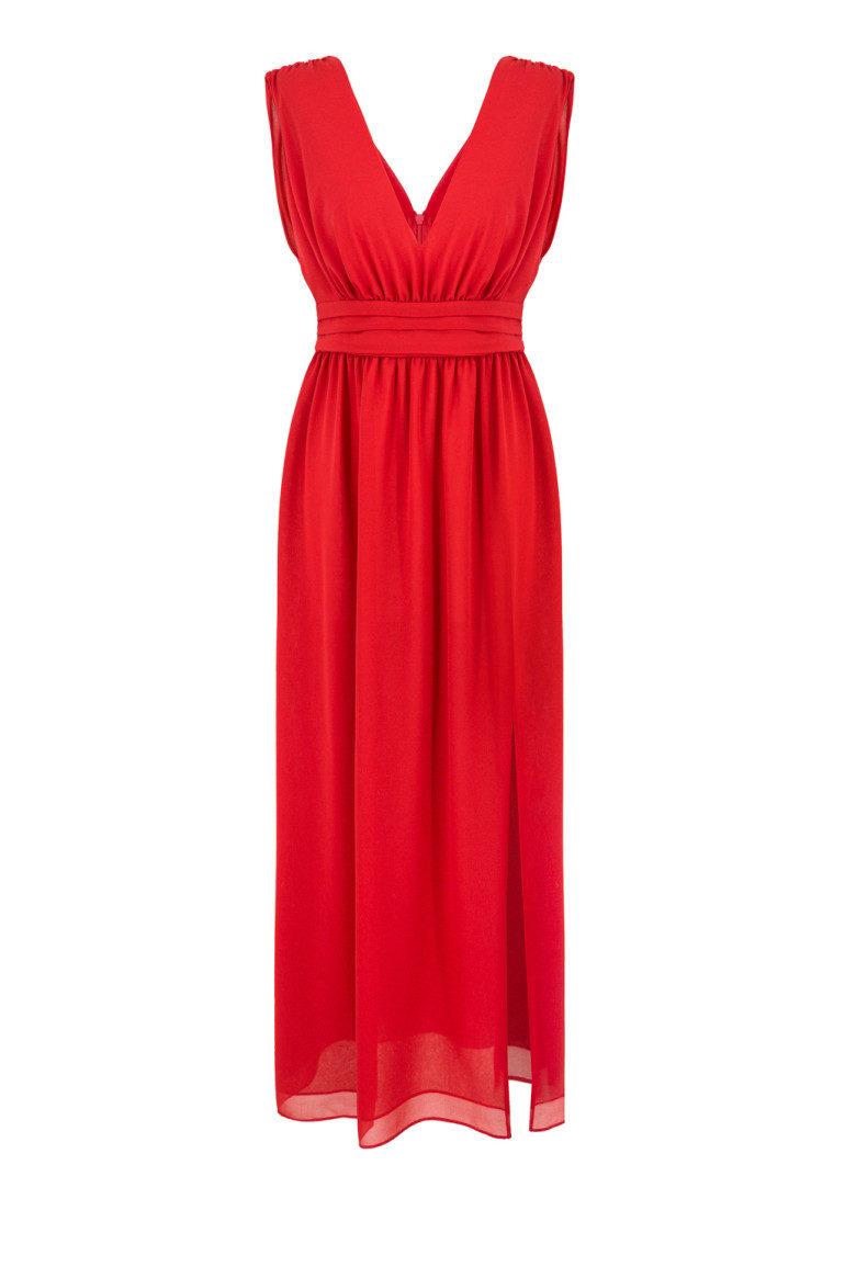 Długa czerwona sukienka wizytowa