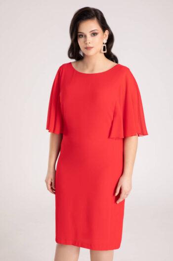 czerwona sukienka wizytowa z rękawami z szyfonu marki Vito Vergelis