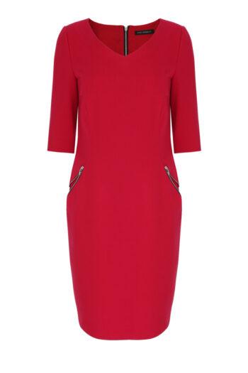 Czerwona sukienka z ozdobnymi suwakami marki Vito Vergelis