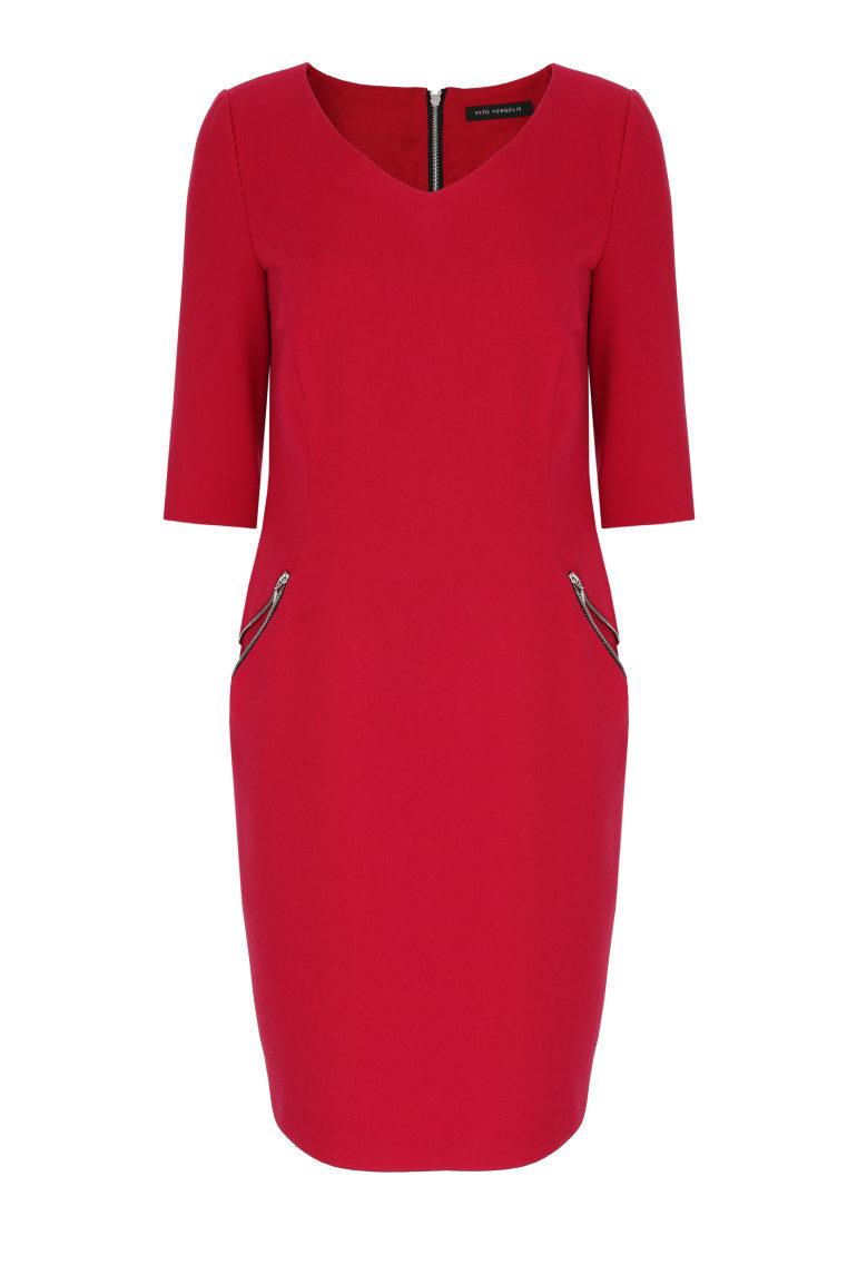 Czerwona sukienka z suwakami