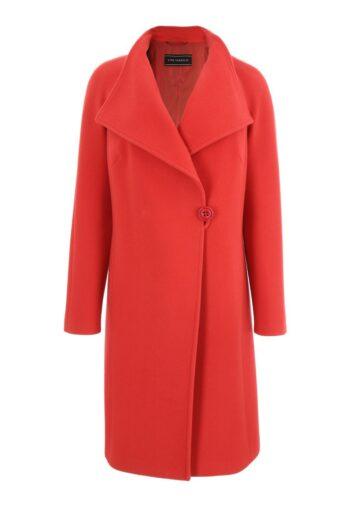 koralowy płaszcz z wełny owczej marki Vito Vergelis