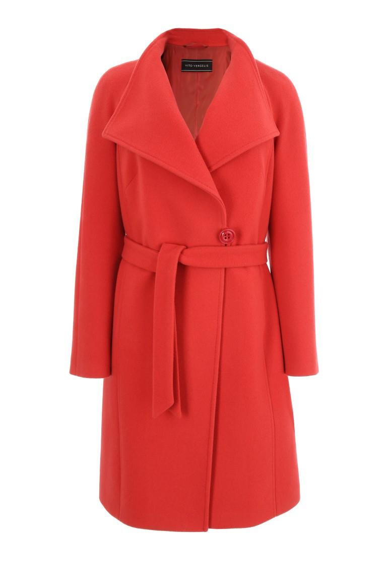 koralowy płaszcz z wełny owczej marki Vito Vergelis damski płaszcz wełniany zimowy