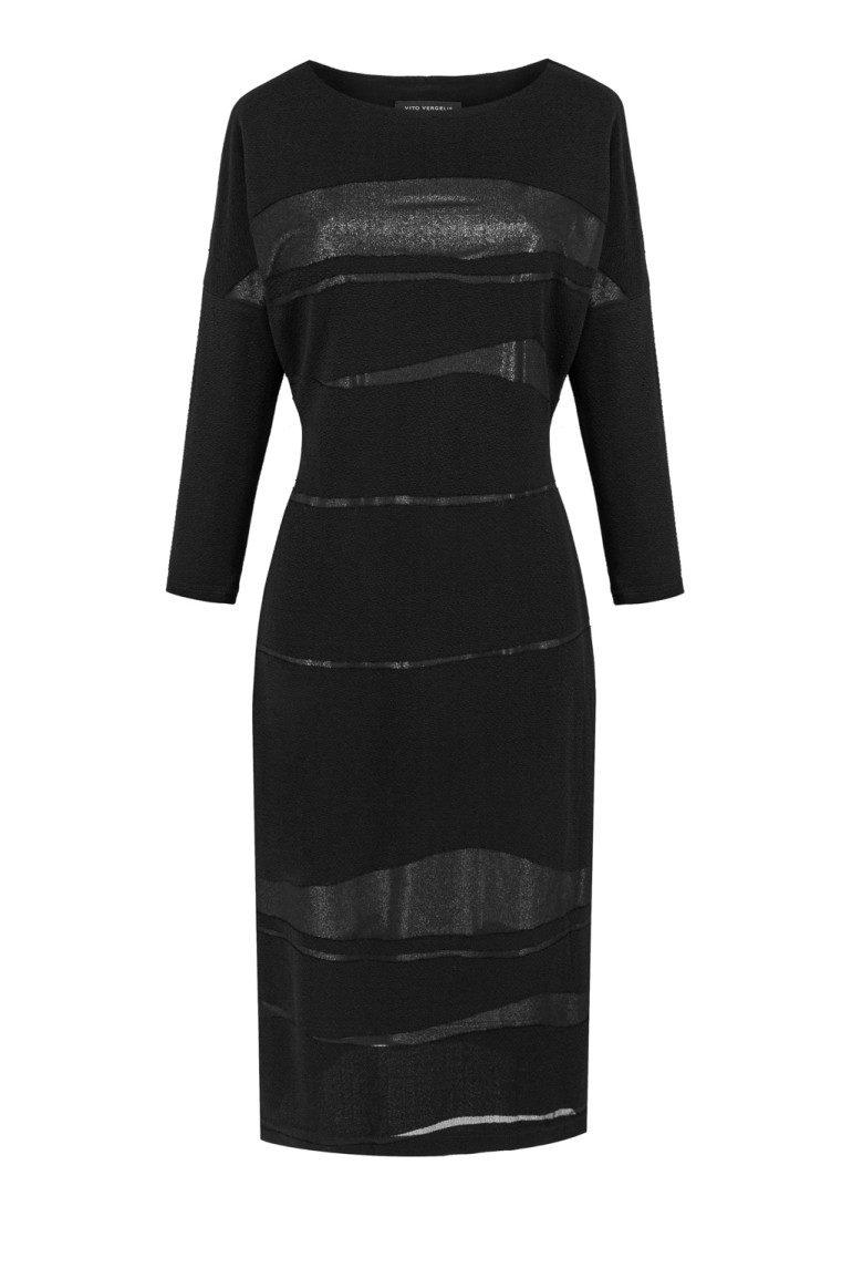 Długa czarna sukienka wizytowa