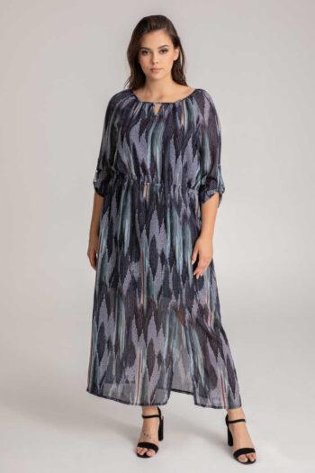 długa kolorowa w sukienka oversize z kimonowym rękawem i rozcięciem na nogę marki Vito Vergelis