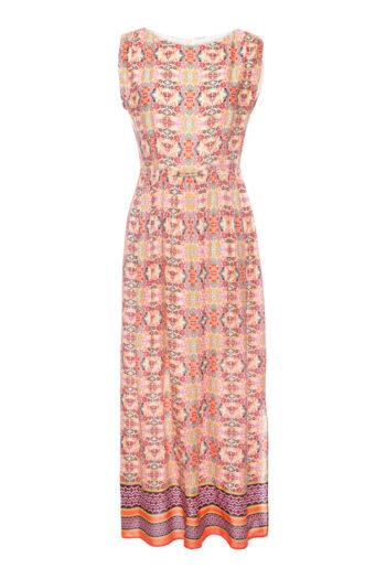 Kolorowa, odcinana sukienka z wiskozy w nadruk mozaiki marki Vito Vergelis
