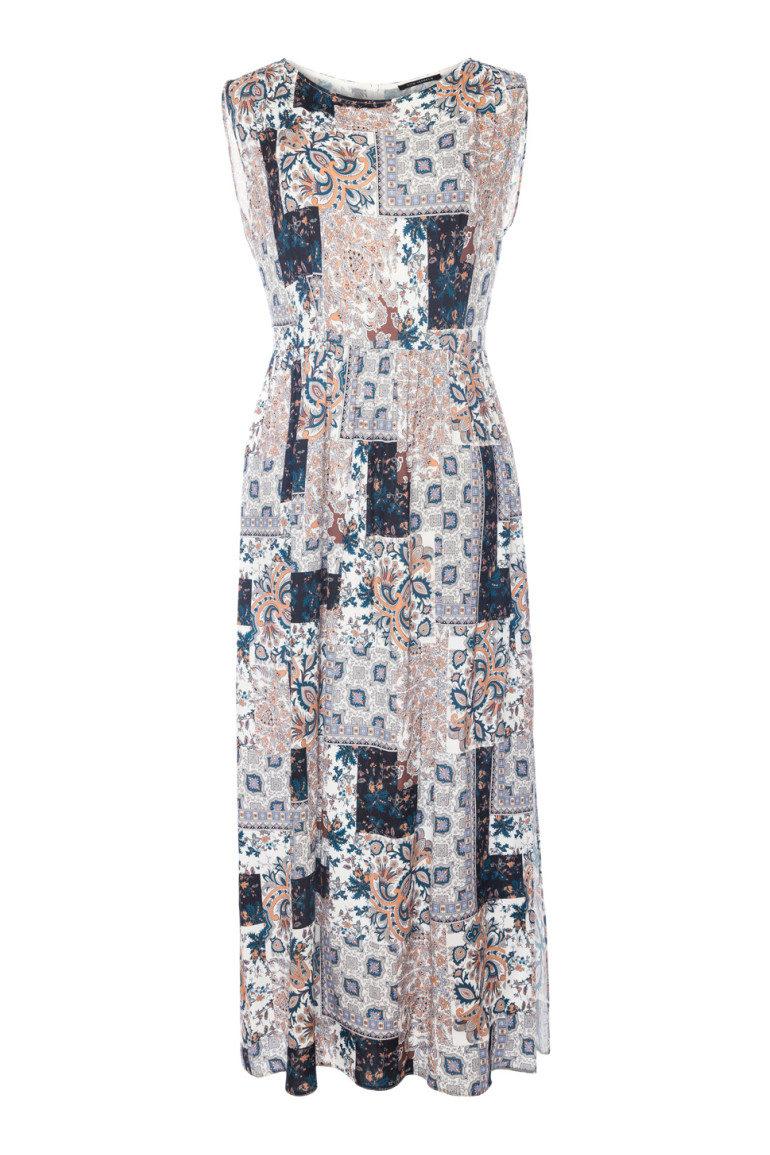Długa sukienka z wiskozy we wzory