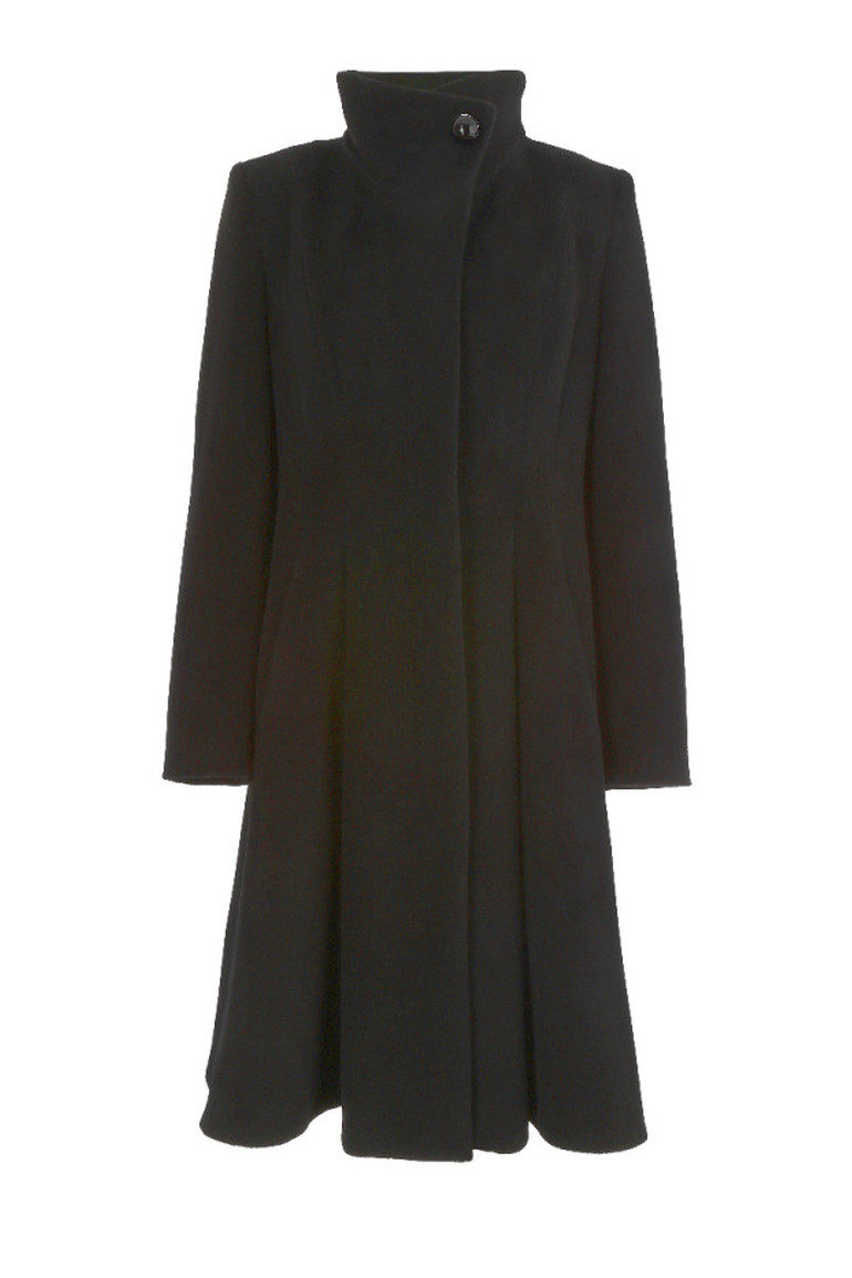 Czarny płaszcz ze stójką