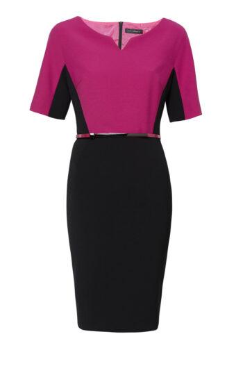 Dwukolorowa sukienka ołówkowa z paskiem polskiej marki Vito Vergelis.