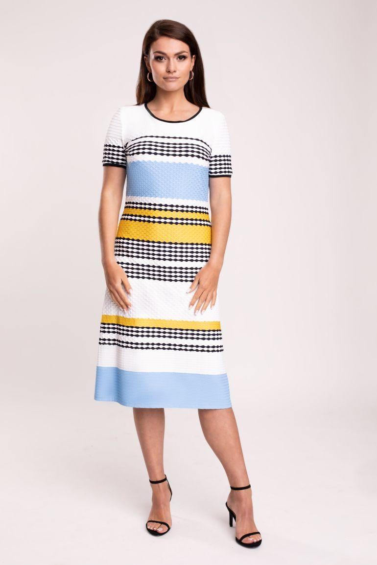 Sukienka w paski – błękit z żółtym