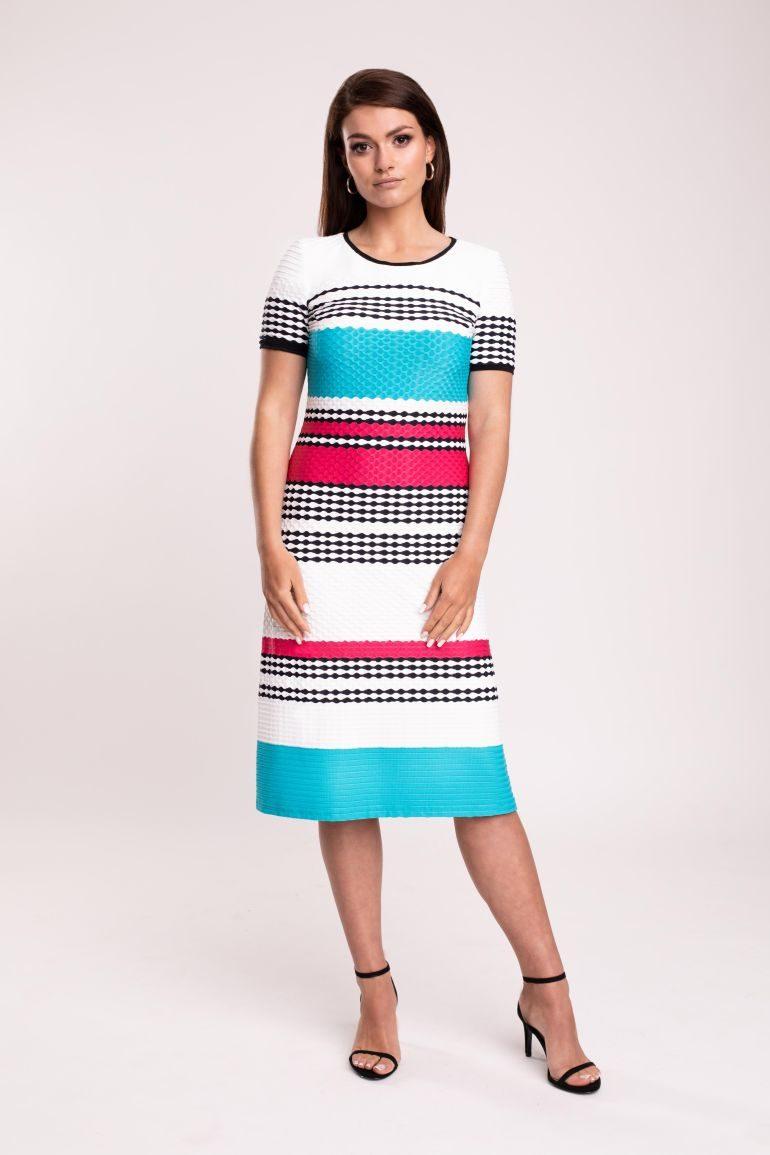Sukienka w paski – turkus z fuksją