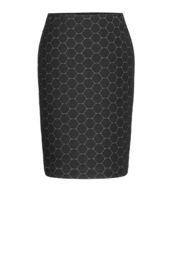 Linia biznes. Ołówkowa spódnica Vito Vergelis z miękkiej dzianiny w kółka