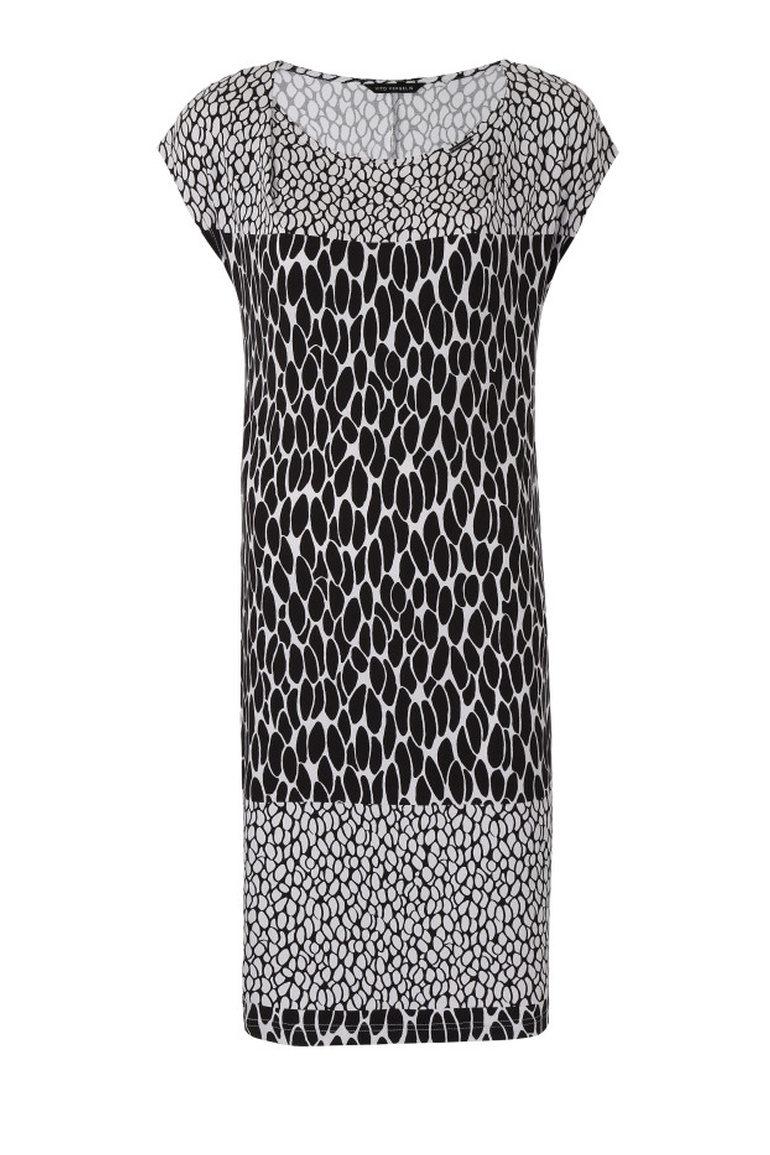 Czarno-biała sukienka z dzianiny wiskozowej