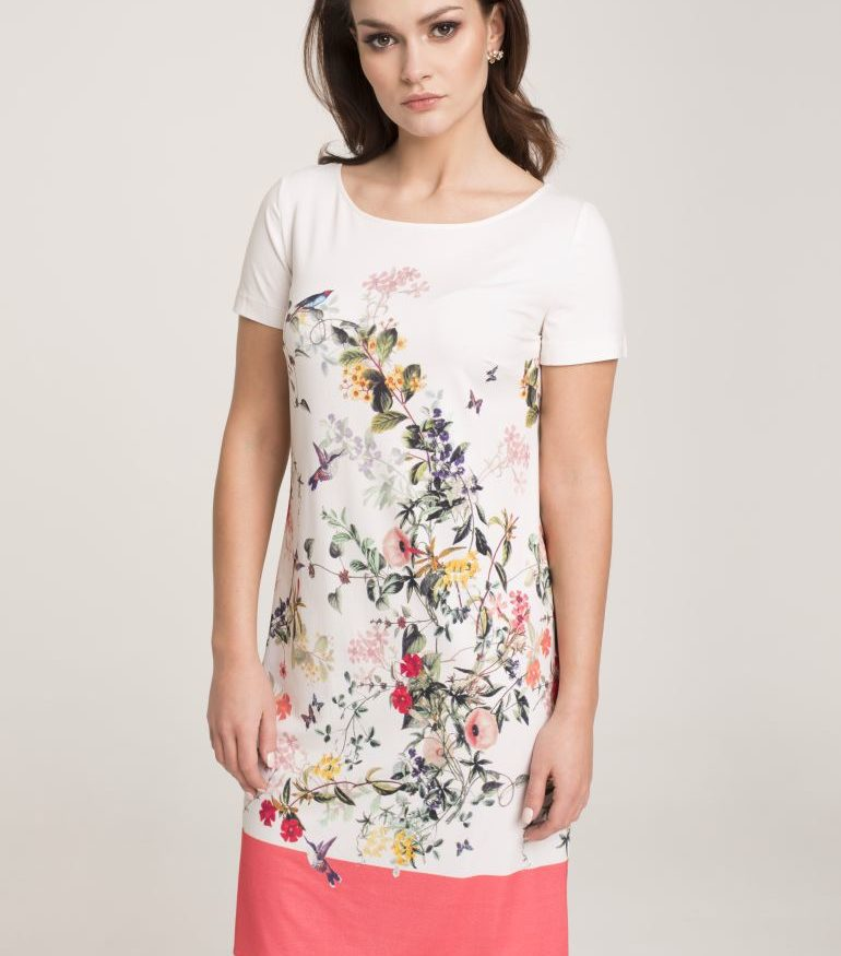 Dzianinowa sukienka z nadrukiem w kwiatki