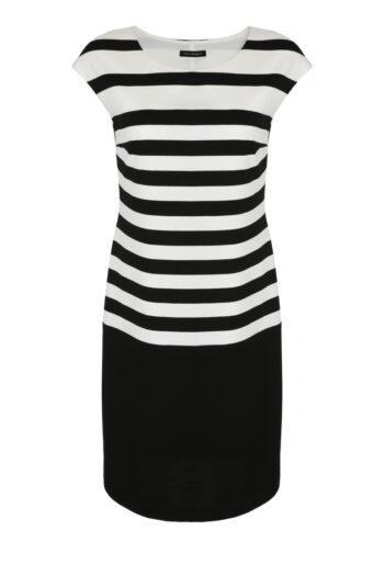Czarno-biała sukienka w paski z grubej dzianiny polskiej marki Vito Vergelis