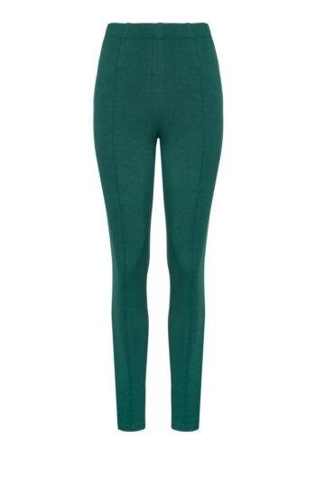 dzianinowe spodnie damskie zielone butelkowe na gumie z kantem. legginsy z przeszyciami. Vito Vergelis