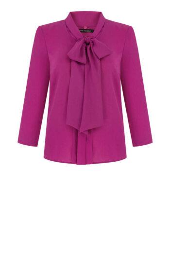 Elegancka koszula z kokardą. Różowa koszula z taśmą wiązaną w kokardę. Wizytowa bluzka Vito Vergelis