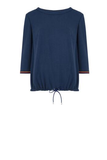 Linia basic Vito Vergelis. Granatowa bluzka z kontrastowym mankietami.