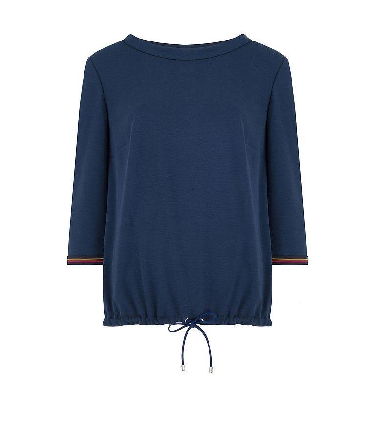 granatowa bluzka z kontrastowym mankietami