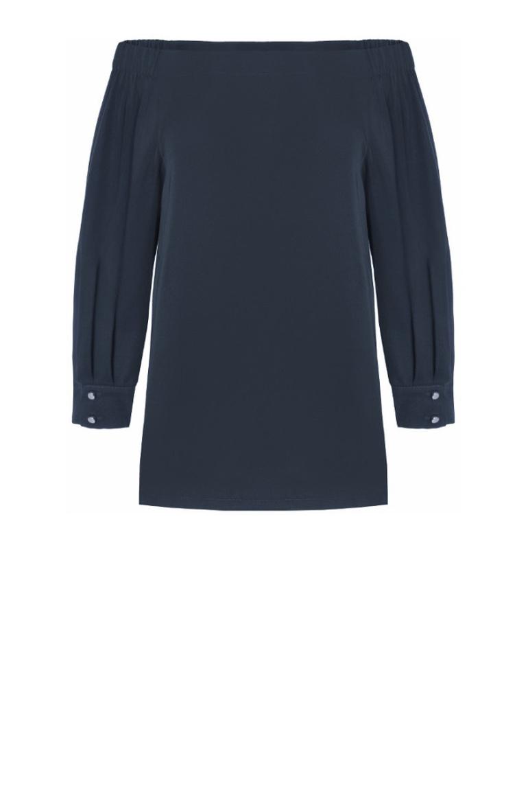 Granatowa bluzka hiszpanka z okrytymi ramionami