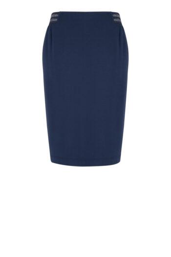Linia basic Vito Vergelis. Granatowa dzianinowa spódnica z gumą polskiej marki