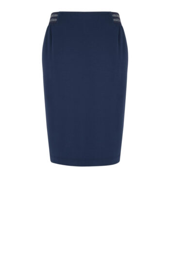Linia basic Vito Vergelis. Granatowa dzianinowa spódnica z gumą