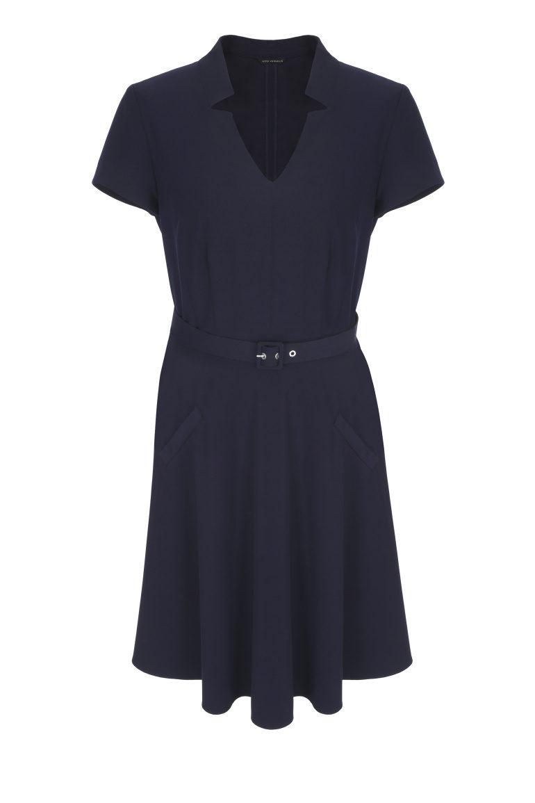 Granatowa rozkloszowana sukienka