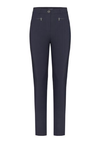 Granatowe elastyczne spodnie z suwaczkami marki Vito Vergelis