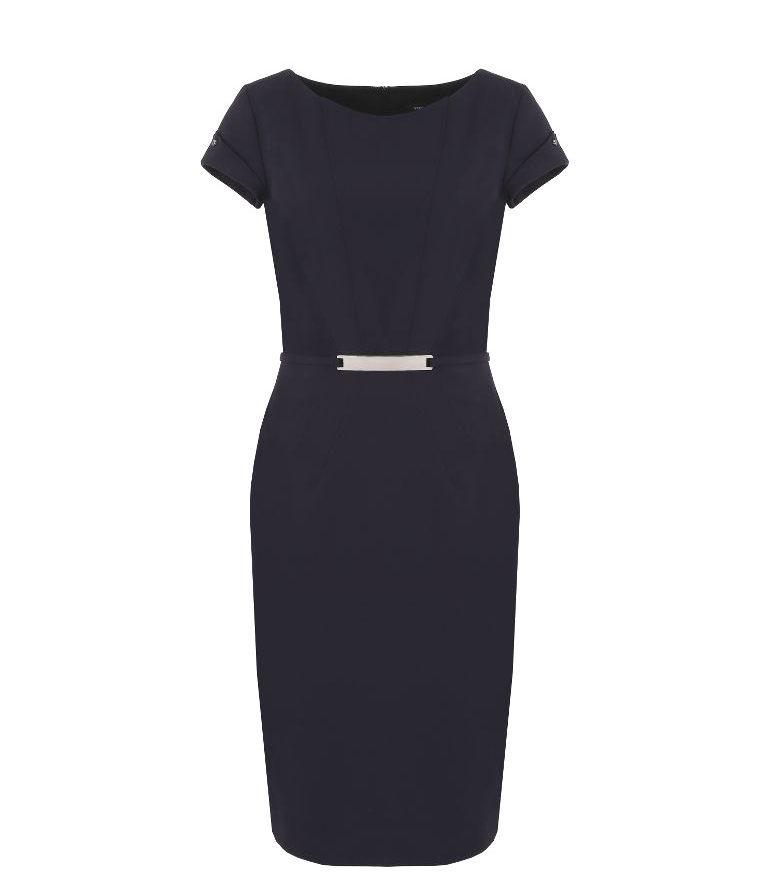 Granatowa sukienka biznesowa