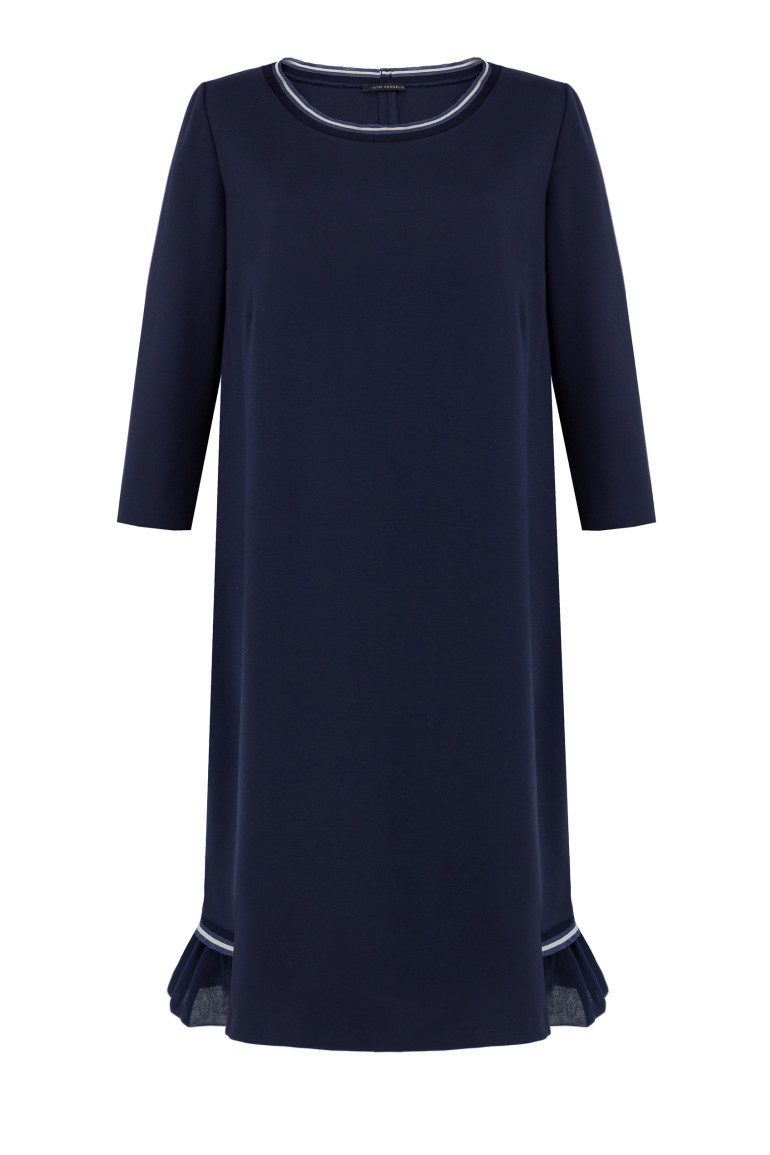 Granatowa sukienka dzianinowa z falbanką