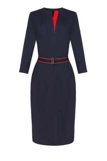 Granatowa dzianinowa sukienka Vito Vergelis z kontrastem i paskiem z gumy. Sukienka Vito Vergelis