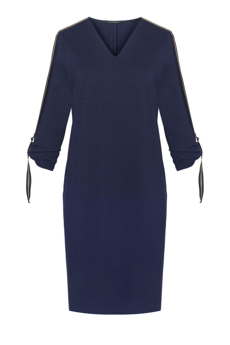Granatowa sukienka z taśmami