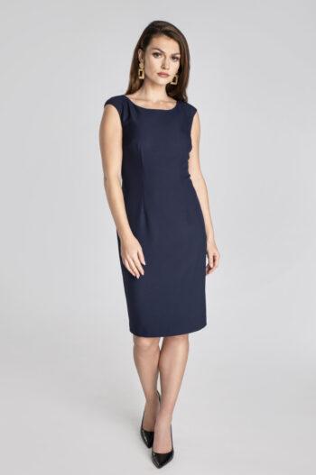 Linia biznes. Granatowa sukienka ołówkowa polskiej marki Vito Vergelis