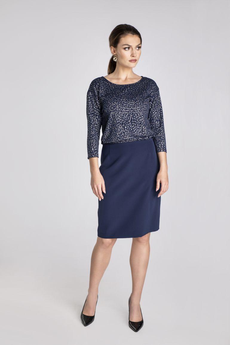 Granatowa sukienka z błyszczącą górą