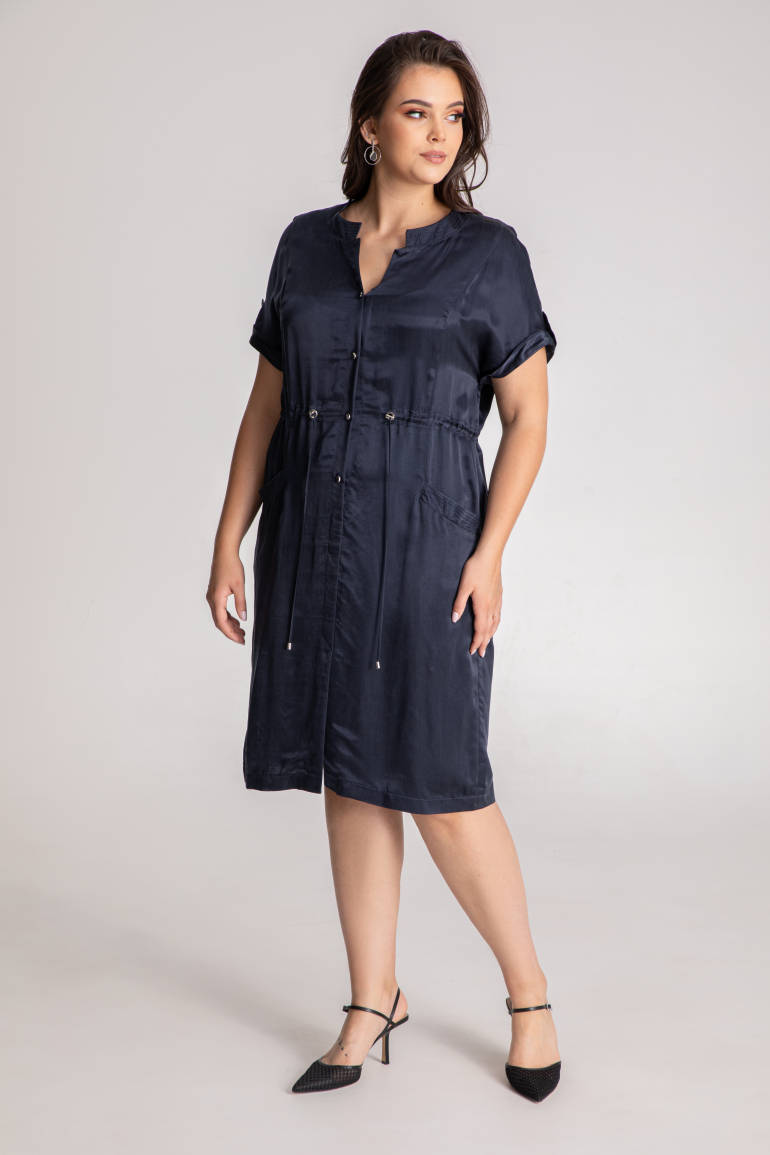 Granatowa sukienka z cupro